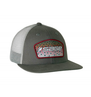 SAGE Hat Patch Trucker Charcoal - Rainbow Trout