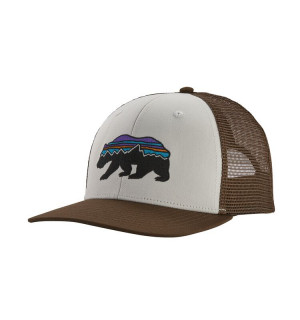 Patagonia Fitz Roy Bear Trucker Hat, white w/bristle brown