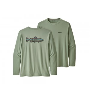 Patagonia L/S Cap Cool Daily Fish Graphic Shirt Fitz Roy Trout Celadon