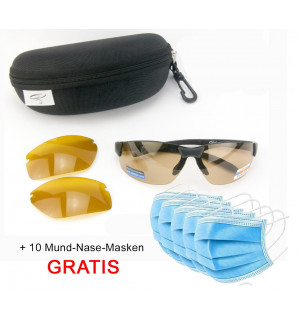 Polarized Glasses Interchange (with exchangeable lenses) + 10 Mouth-Nose Masks