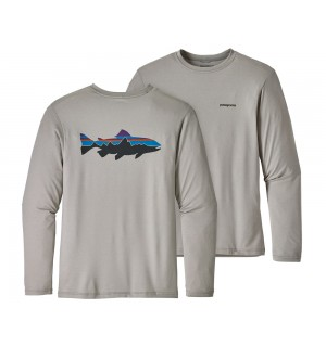Patagonia Graphic Tech Fish Tee, Fitz Roy Trout: Drifter Grey
