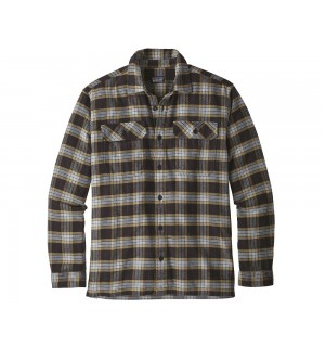 Patagonia L/S Fjord Flannel Shirt, Migration Plaid Small Black