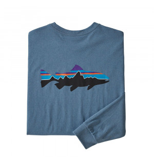 Patagonia M's L/S Fitz Roy Trout Responsibili-Tee, pigeon blue