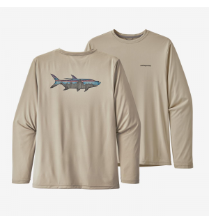 M's L/S Cap Cool Daily Fish Graphic Shirt, pumice
