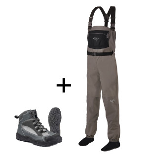 TRAUN RIVER Wading Combo SILVER_ Pro Waders & River Grip Boot