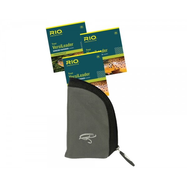 3 - Pack RIO Trout VersiLeader 7 ft & Leader Pouch