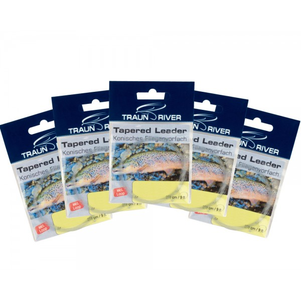 5 Pack TRAUN RIVER Tapered Leaders 9ft.