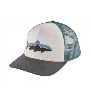 Patagonia Fitz Roy Trout Trucker Hat, white forge grey