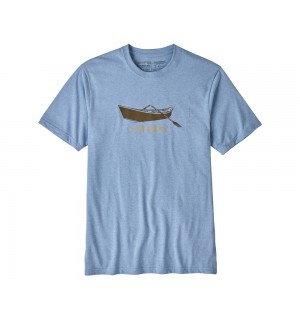 Patagonia Live Simply Drift Boat Responsibili Tee, railroad blue