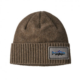 Patagonia Brodeo Beanie, Fitz Roy Trout Patch: Ash Tan