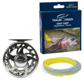 TRAUN RIVER Drop (gun metal) Reel & Easy Cast Flyline