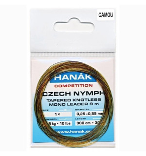 HANAK Czech Nymph Tapered Knotless Mono Leader, camouflage