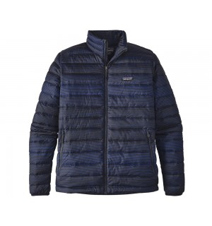 Patagonia Down Sweater, Distressed Stripe Navy Blue