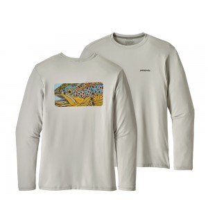 Patagonia Graphic Tech Fish Tee, Eye of Brown: Tailored Grey