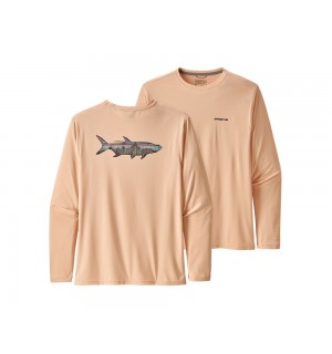 Patagonia L/S Cap Cool Daily Fish Graphic Shirt, Fitz Roy Tarpon: Light Peach Sherbet