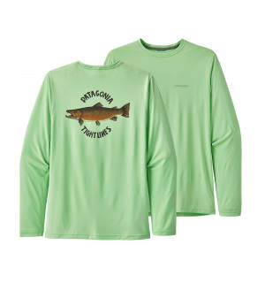Patagonia M's L/S Cap Cool Daily Fish Graphic Shirt Brown Trout Bud Green
