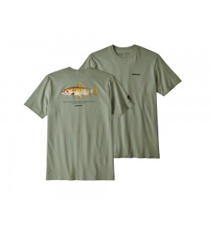 Patagonia Greenback Cutthroat World Trout Responsibili Tee, celadon